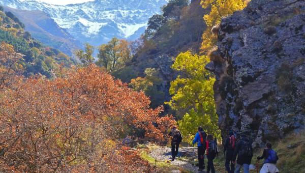 Sendero Vereda de la Estrella. Colores de otoño, vistas de los pocos de Sierra Nevada