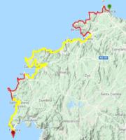 Itinerario del Camniho dos Faros propuesto (amarillo)
